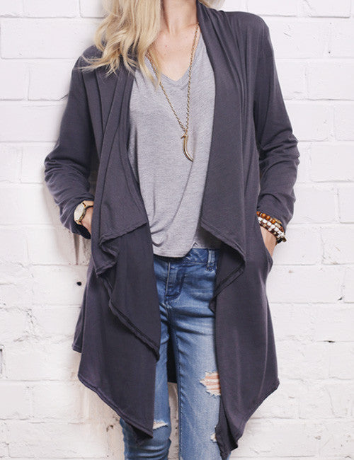 Chicnico Women's Fashion Fall Outfit Gray Cardigans Coat