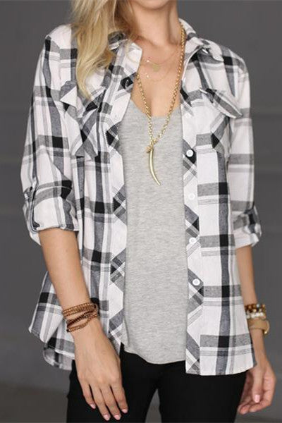 Chicnico Plaid Chest Pocket Long Sleeve Shirt