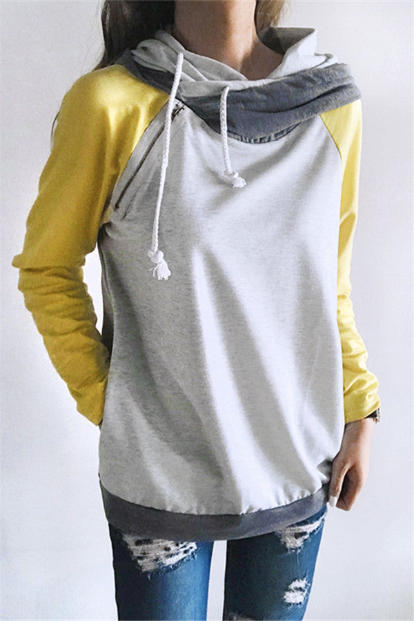 Chicnico Casual Side Zippered Closure Color Block Hoodie