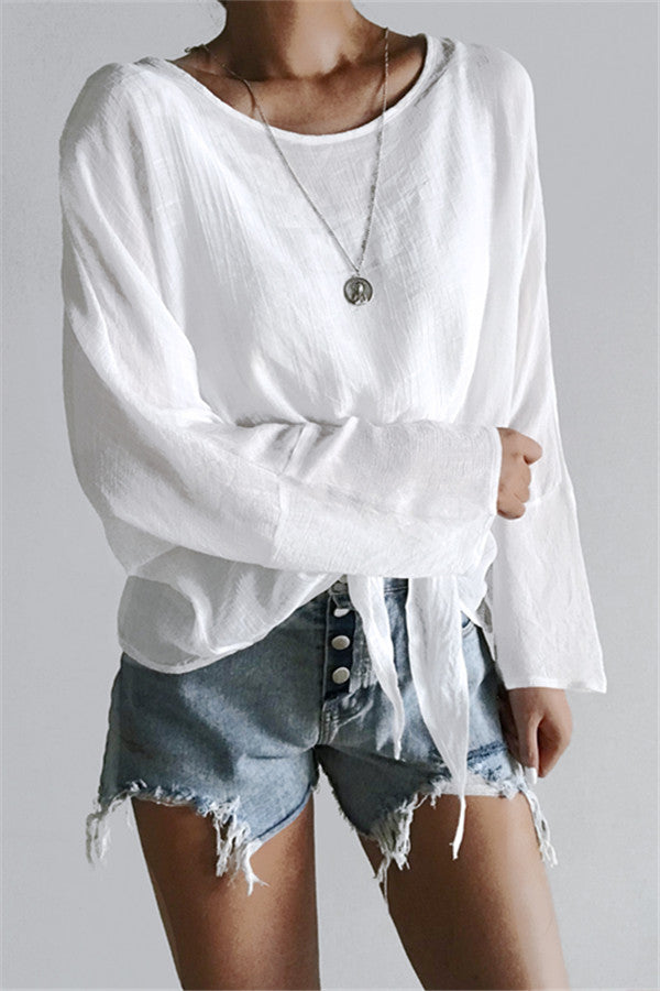 Chicnico Loose Long Sleeve Tie Front Blouse