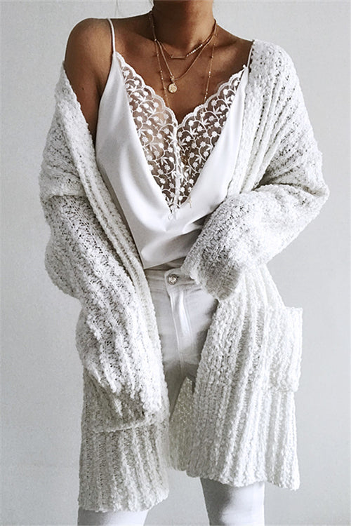 Chicnico Casual Long White Cardigan