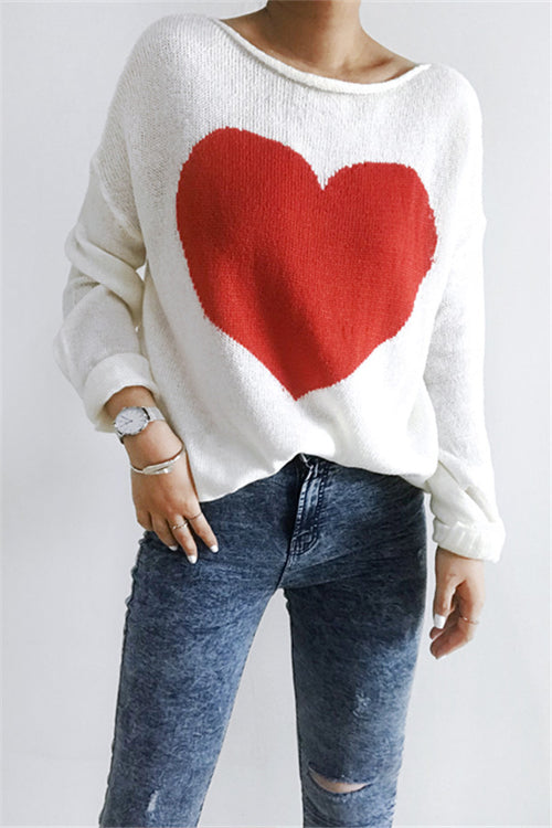 Chicnico Heart Front Loose Sweater