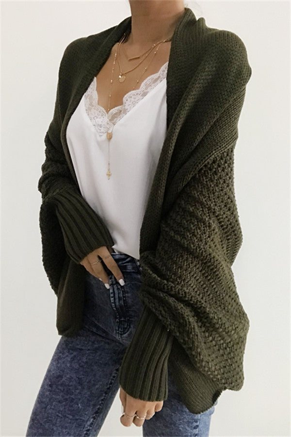 Chicnico Stylish Open Collar Oversize Casual Solid Color Cardigan