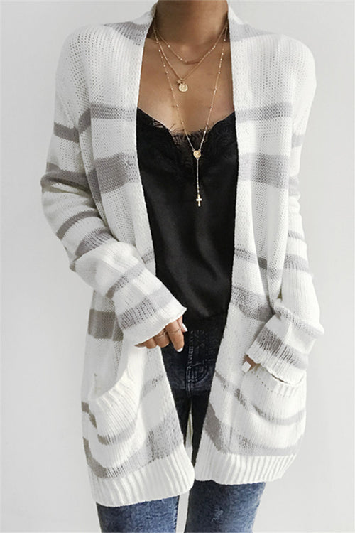 Chicnico Casual Striped Long Cardigan