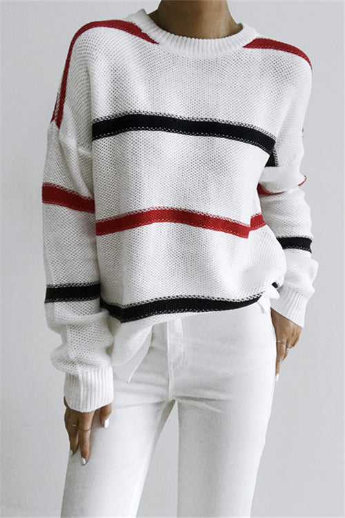 Chicnico Fashion Red Navy Striped White Knit Sweater