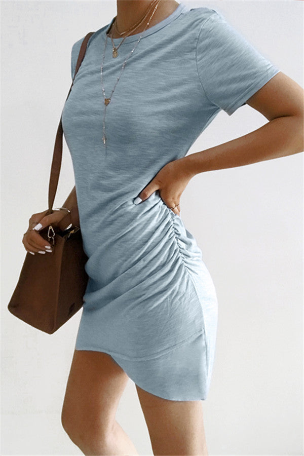 Chicnico Casual Solid Color Bodycon Mini Dress