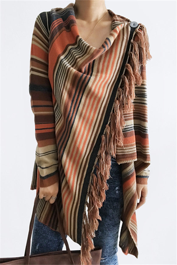 Newest Single Button Tassel Asymmetrical Hem Shawl