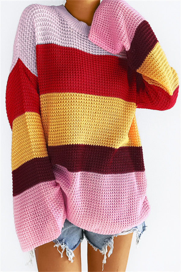 Chicnico Color Block Striped Loose Sweater