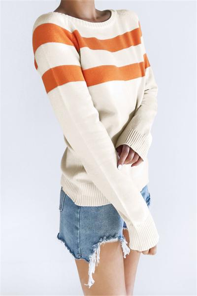 Chicnico Casual Orange Striped Sweater