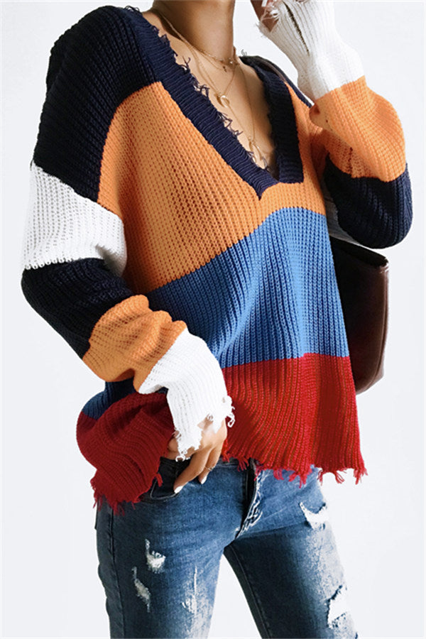 Chicnico Color Block Frayed Hem Sweater