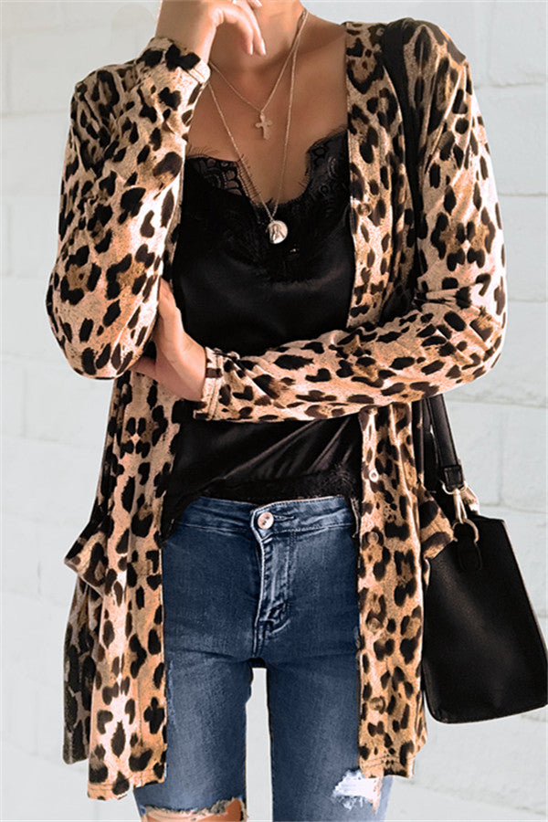 Chicnico Fashion Leopard Printed Cardigan