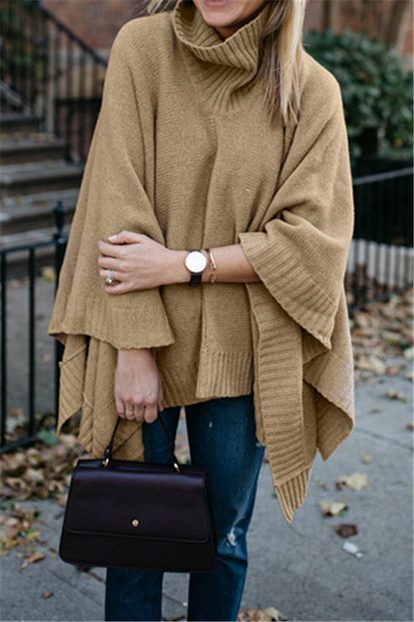 Chicnico Duplicate Turtleneck Camel Cape