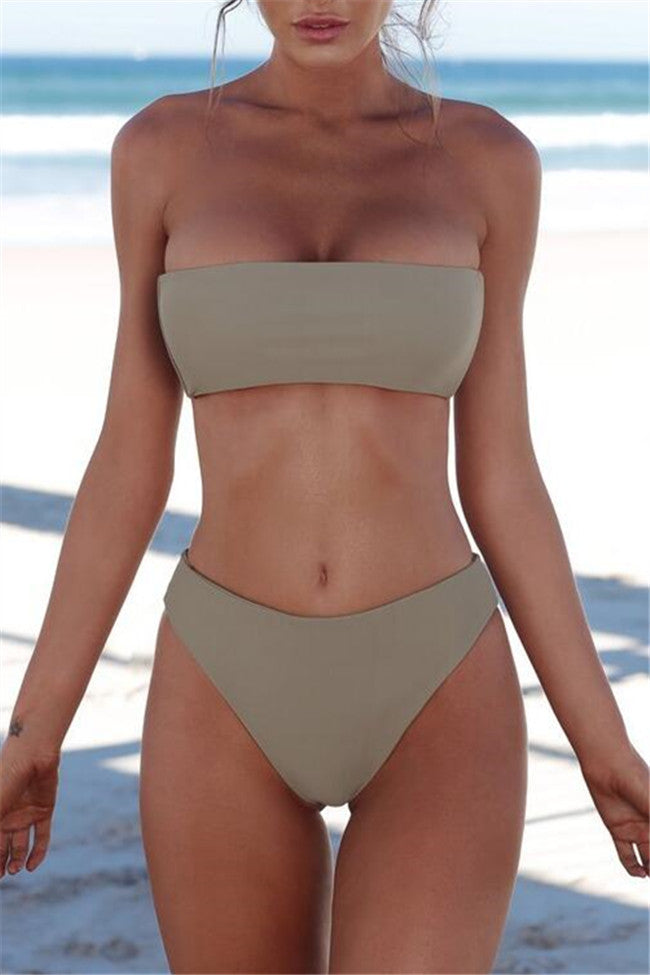 Chicnico Simple Bandeau Solid Color Bikini Set