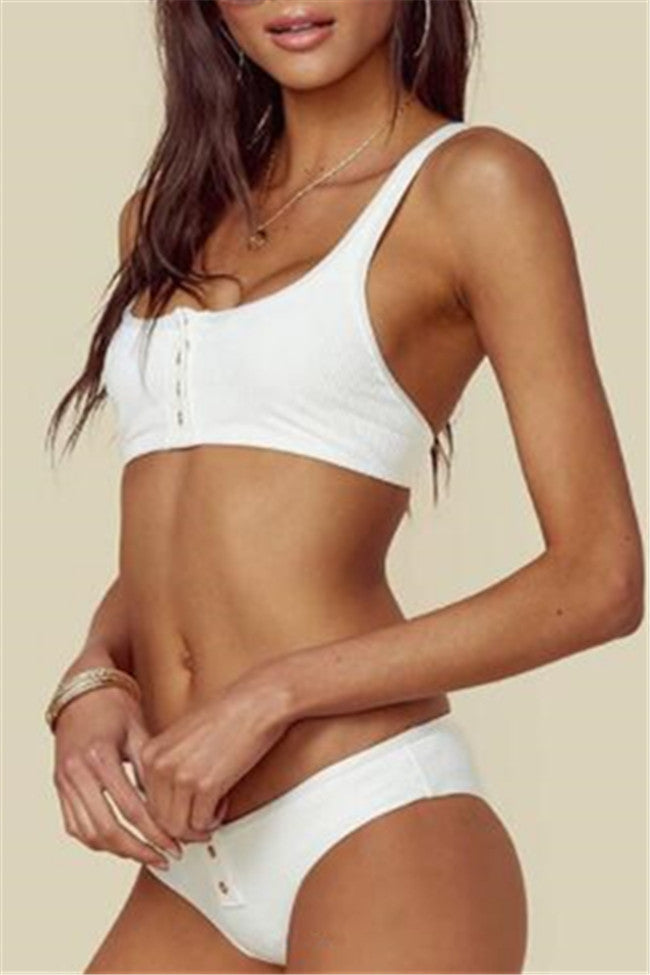 Chicnico Simple Front Button Bikini Solid Color Bikini Set