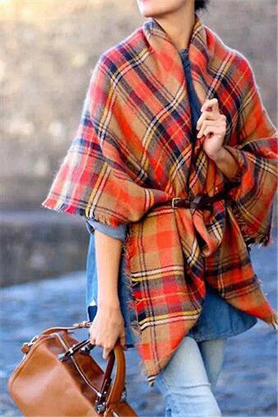 Chicnico Fashion Plaid Orange Scarf