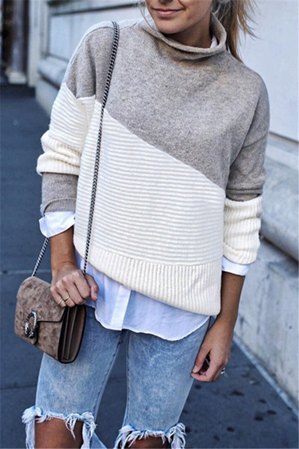 Chicnico Casual Patchwork Turtleneck Sweater