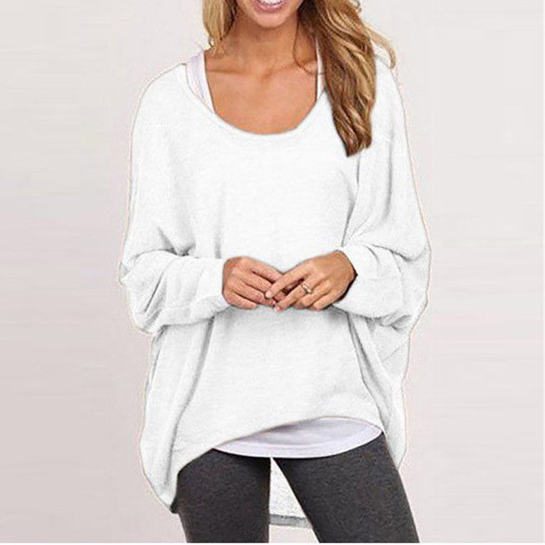 Chicnico Women's Casual Pure Color Oversize Sweater Top
