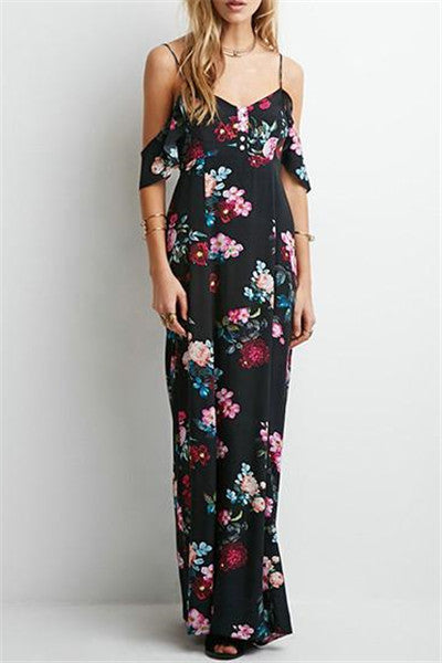 Chicnico Vintage Floral Print Halter V neck Lace Up Maxi Dress