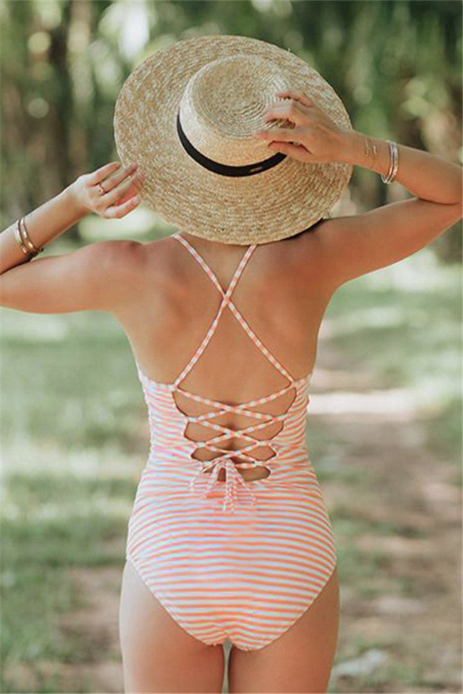 Chicnico Cute Striped One Piece Swimsuit