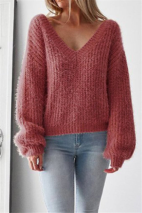 Chicnico Big V Neck Sweater