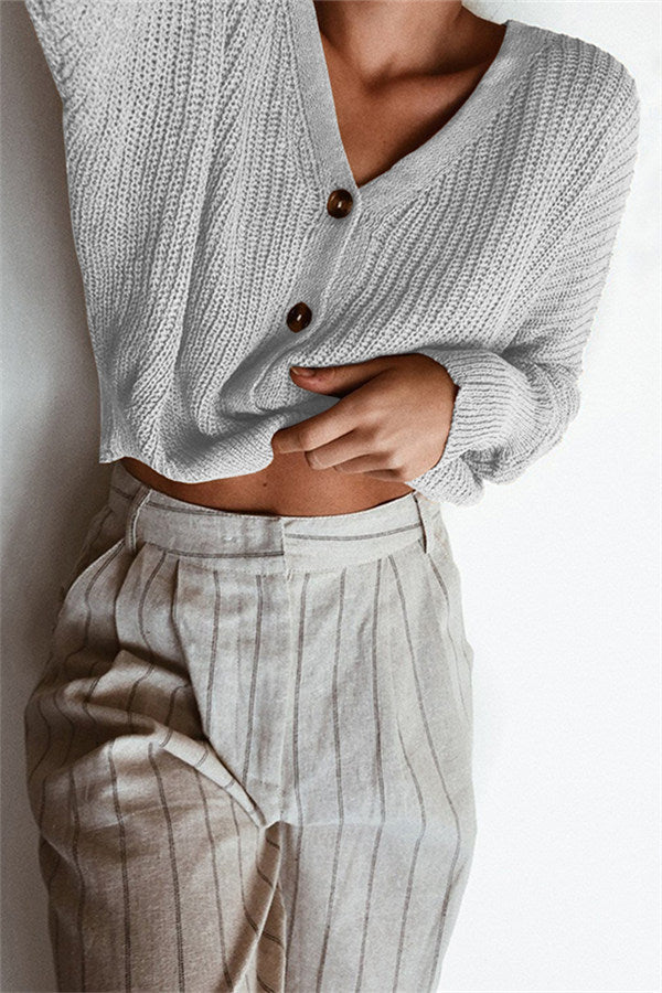 Chicnico Loose Button Up Sweater