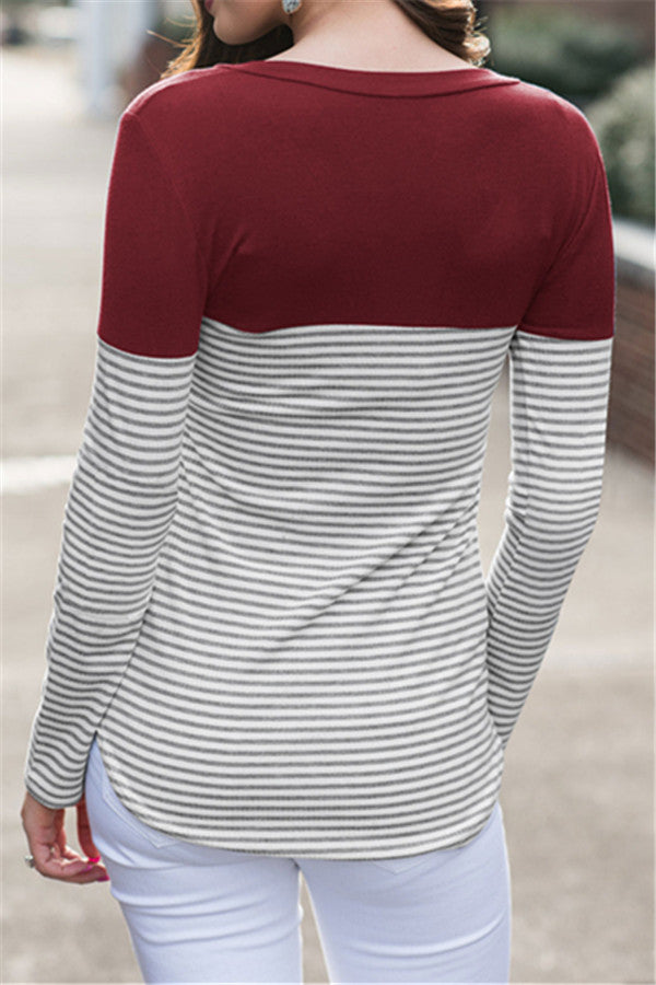 Chicnico Casual Striped Sweatshirt