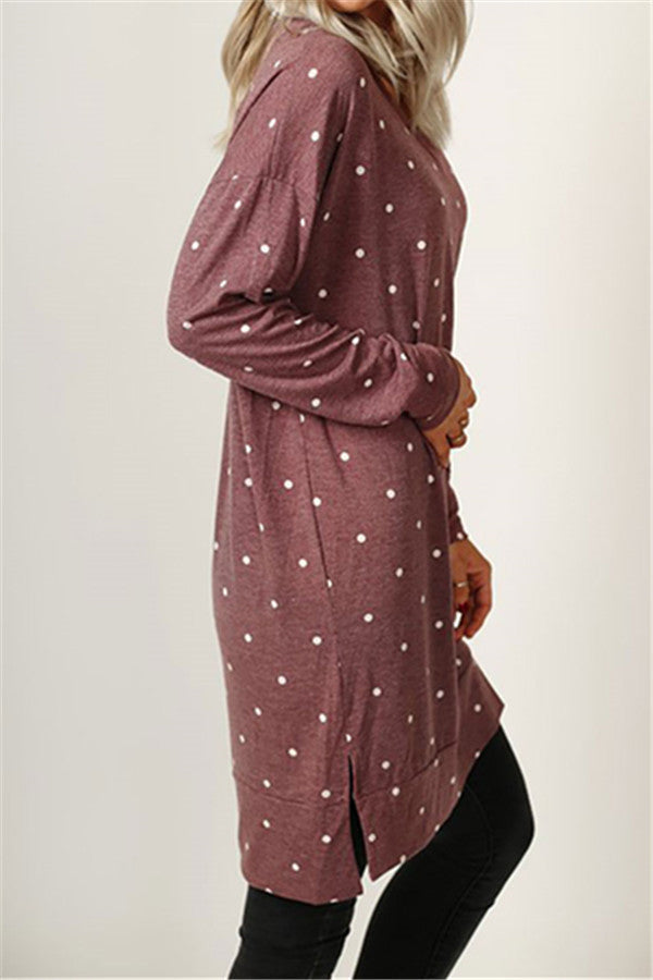 Chicnico Casual Dot Printed Long Pullover Dress