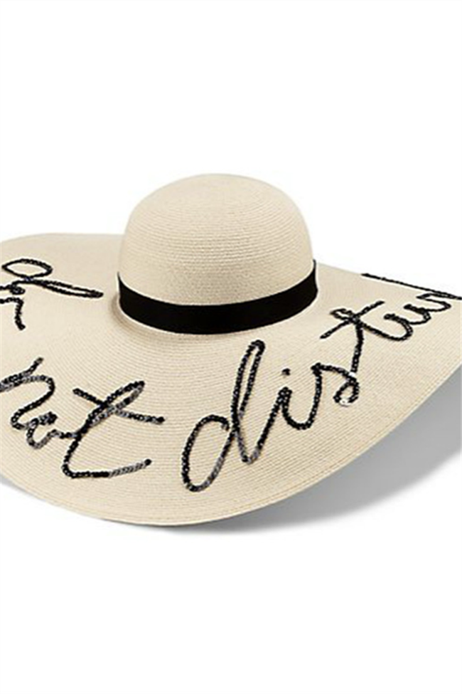 Chicnico Letter Embroidery Wide-brimmed Sunhat