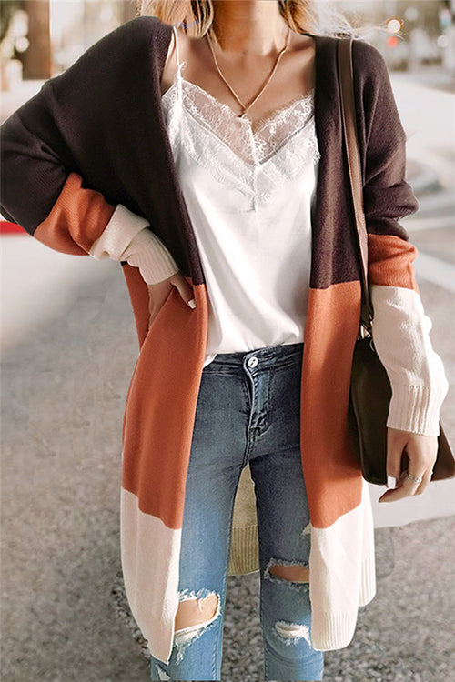 Chicnico Color Block Long Cardigan