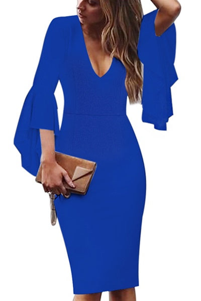 Chicnico Flared Sleeve Bodycon Dress