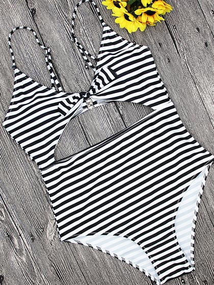 Chicnico Beach Dream Tie Striped One piece Swimsuit
