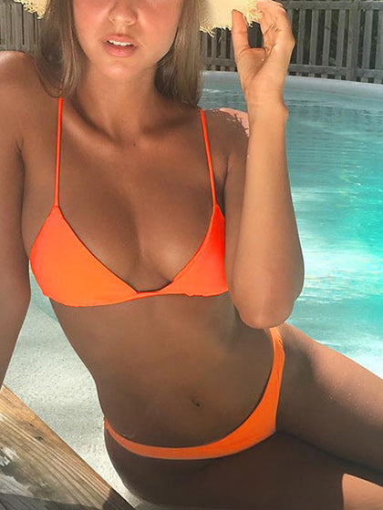 Chicnico Fun In The Sun bandage Orange Bikini Set