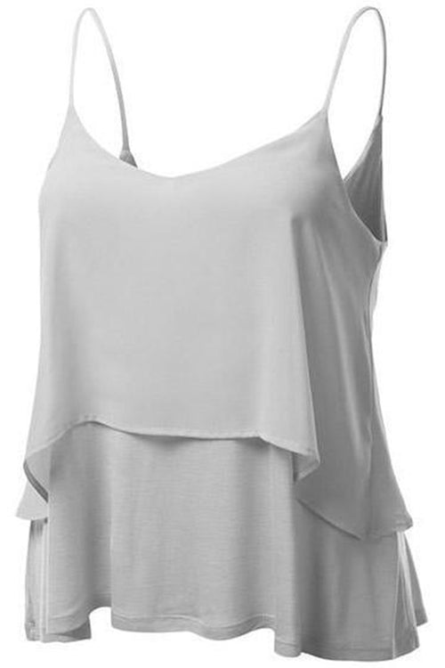 Chicnico Cute Sleeveless Solid Color Chiffon Top Camisole