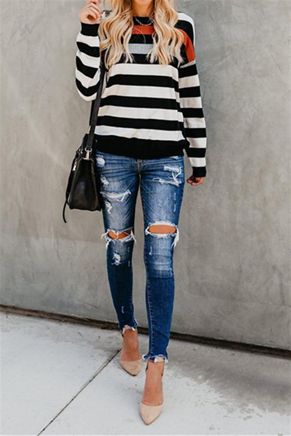 Chicnico Fashion Patchwork Striped Pullover