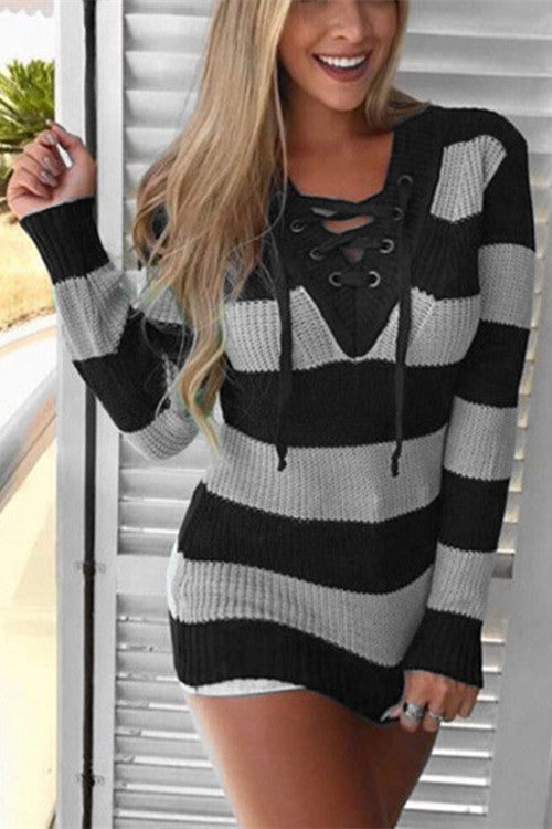 Chicnico Tie Front Striped Sweater