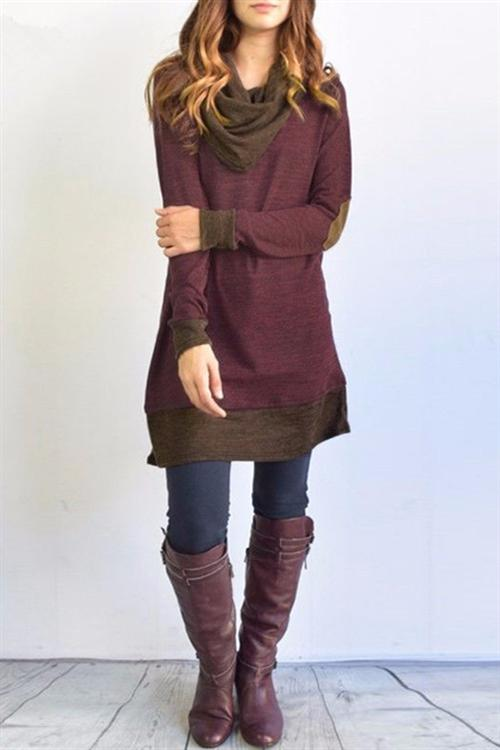 Chicnico Patchwork Sweater Dress