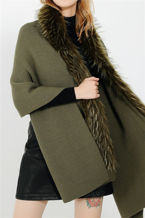 Chicnico Fur Hem Warm Scarf