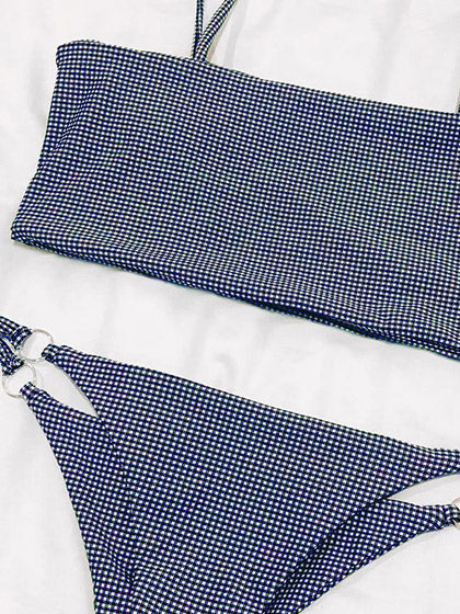 Chicnico Come With Me Gingham Bikini Set