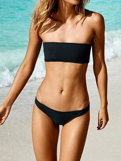 Chicnico Minimalist Black Bikini Set