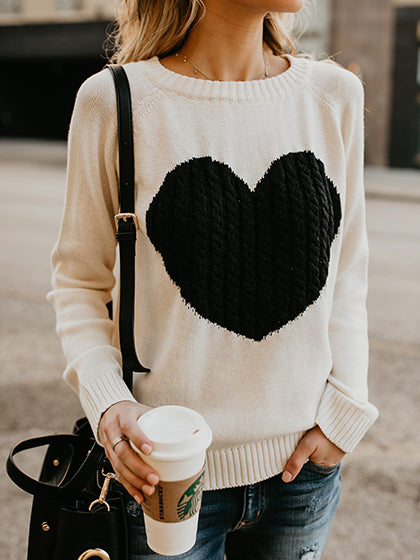 Chicnico Cute Heart Jewel Sweater