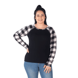 JESSICA BREASTFEEDING LONG SLEEVE TOP - TARTAN