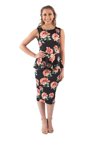 FELICITY PEPLUM BREASTFEEDING DRESS - CLEARANCE