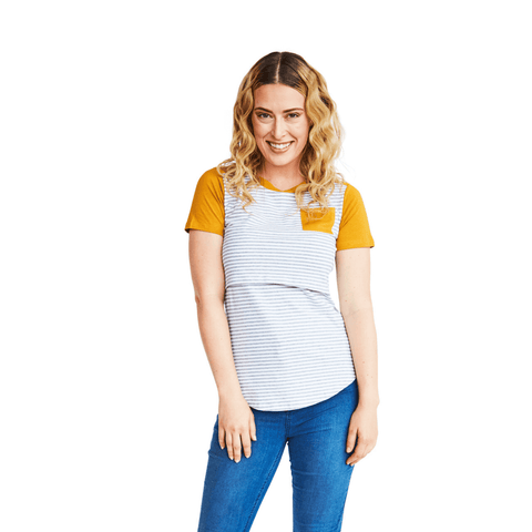 CANDICE BREASTFEEDING TEE - MUSTARD