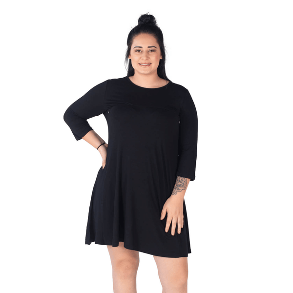 EMMA BREASTFEEDING SWING DRESS- BLACK