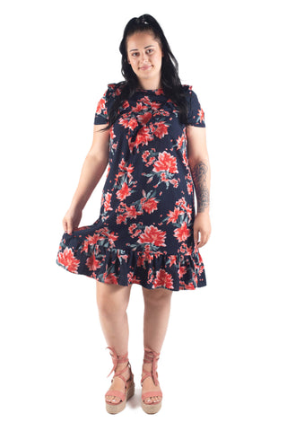 CECE SHORT SLEEVE BREASTFEEDING DRESS NAVY / PINK  FLORAL