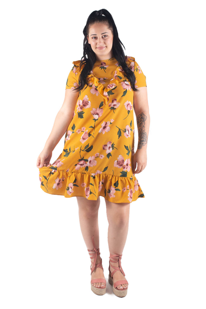 Cece Short Sleeve Breastfeeding Dress Mustard Floral Mamaclothing