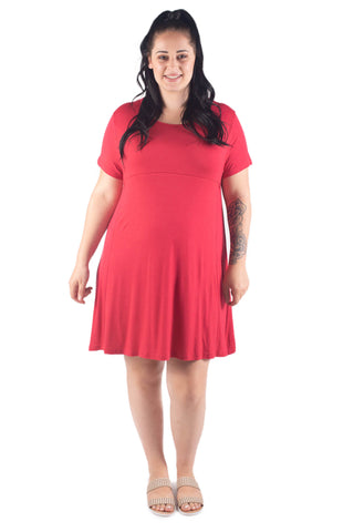 EMMA SHORT SLEEVE BREASTFEEDING DRESS - CORAL RED
