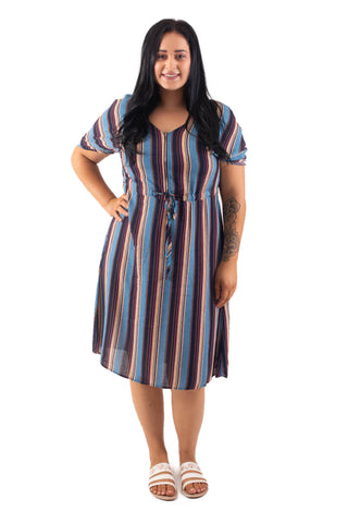 KELSEY BREASTFEEDING DRESS - BLUE STRIPE