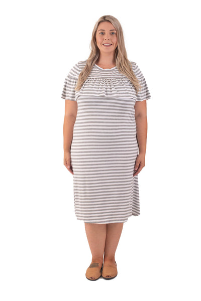 AMELIA BREASTFEEDING DRESS - GREY STRIPE