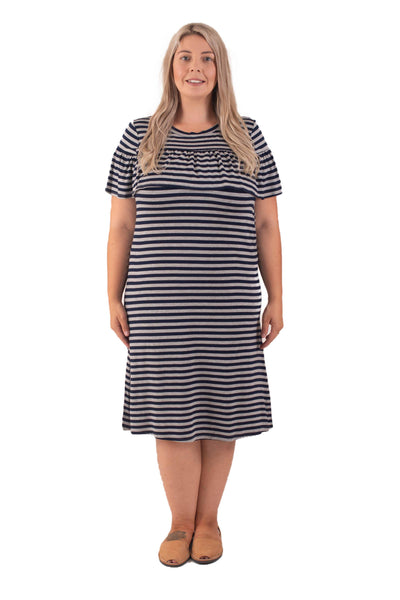 AMELIA BREASTFEEDING DRESS - NAVY STRIPE